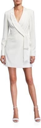 Jay Godfrey Roxy Shawl-Collar Tie-Front Tuxedo Dress
