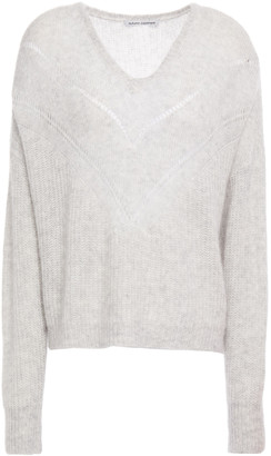 Autumn Cashmere Melange Ribbed Cashmere And Silk-blend Turtleneck Sweater