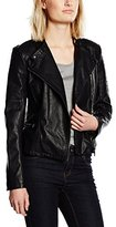 Pepe Jeans Women's Leather Jacket Long sleeve Coat - Black -