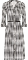 Altuzarra Leppard Belted Houndstooth Stretch-cady Dress - Black