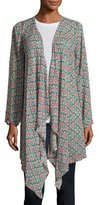 Tolani Gigi Georgette Elephant-Print Open-Front Jacket, Multi