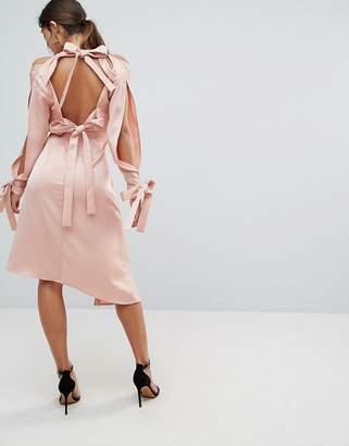 Keepsake Bow Back Too Late Dress-Pink
