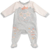Little Marc Jacobs Long-Sleeve Stripe & Melange Footie Pajamas, Gray/Pink, Size 1-6 Months