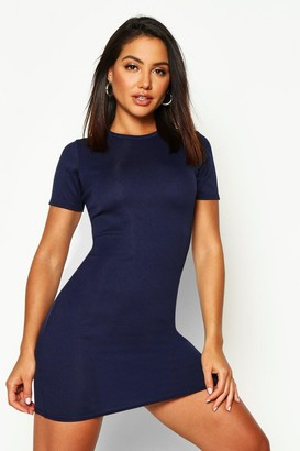 boohoo Basic Rib Crew Bodycon Dress
