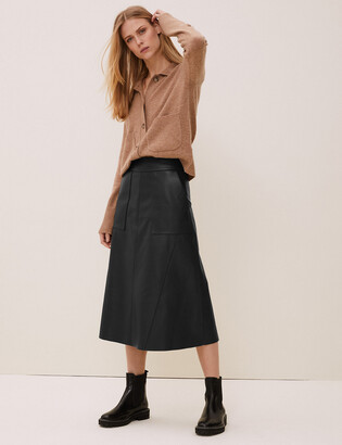 Marks and Spencer Leather Midi A-Line Skirt