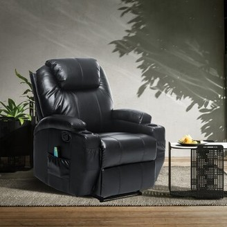 Red Barrel Studio Aagna Faux Leather Manual No Motion Recliner with Massage and Heating Fabric: Black Faux Leather