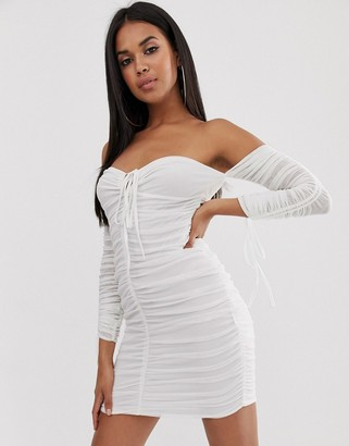 Club L London off shoulder long sleeve ruched mini dress in white