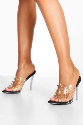 boohoo Studded Clear Stiletto Mules