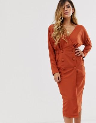 Asos Design DESIGN midi wrap tux dress-Red