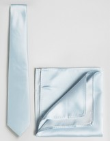 Asos WEDDING Tie And Pocket Square Pack In Light Blue