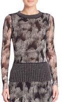 Fuzzi Mixed Media Printed Pullover