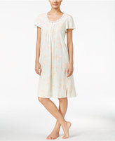 Miss Elaine Lace-Trimmed Floral-Print Knit Nightgown
