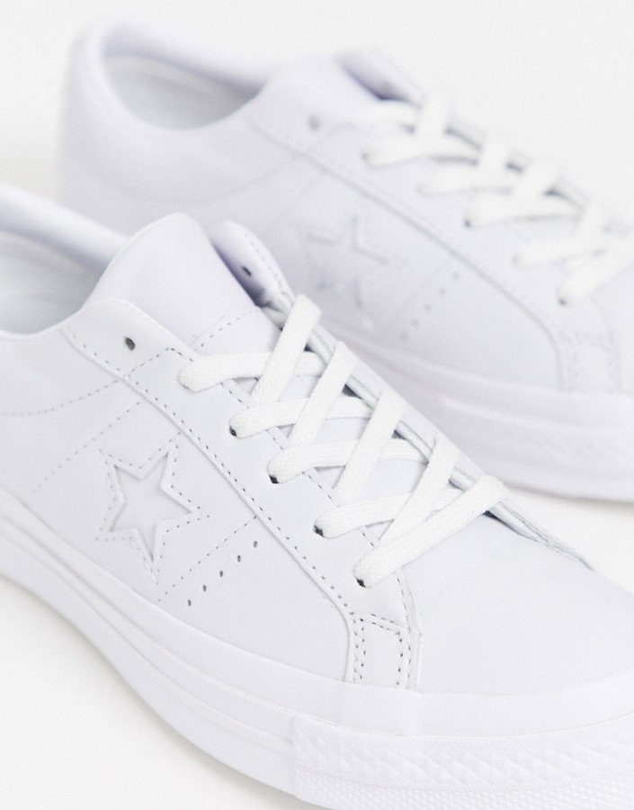 Thumbnail for your product : Converse One Star white leather trainers