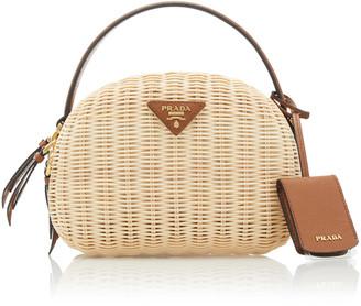 Prada Odette Small Leather-Trimmed Raffia Bag