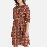 La Redoute Collections Cotton Tile Print Shift Dress with Tassels