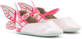 Sophia Webster Chiara Leather-Trim Butterfly Mary Jane Flat, Pink, Infant