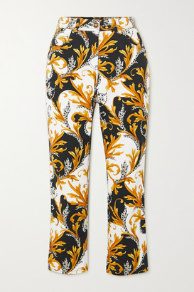 Versace Printed Cropped High-rise Skinny Jeans - Yellow