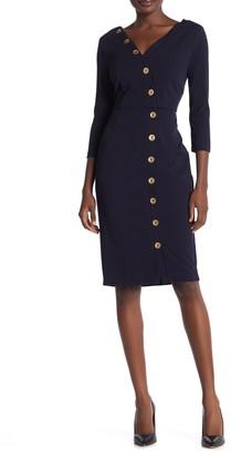 Alexia Admor Madison 3/4 Sleeve Button Front Sheath Dress