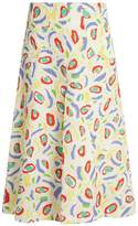 DURO OLOWU Abstract bird-print cloqué midi skirt