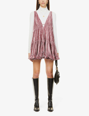 Free People Pleated velvet mini dress