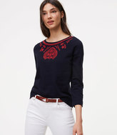 LOFT Floral Embroidered Top