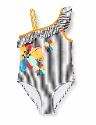 Tuc Tuc Grey Striped Swimsuit for Girl Wild Side