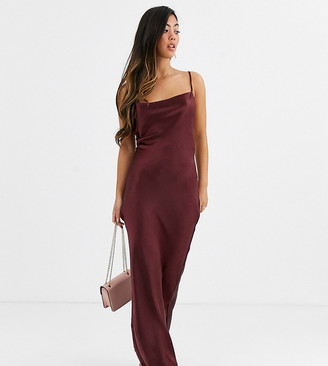 Asos DESIGN Petite cami maxi slip dress in high shine with lace up back-Purple