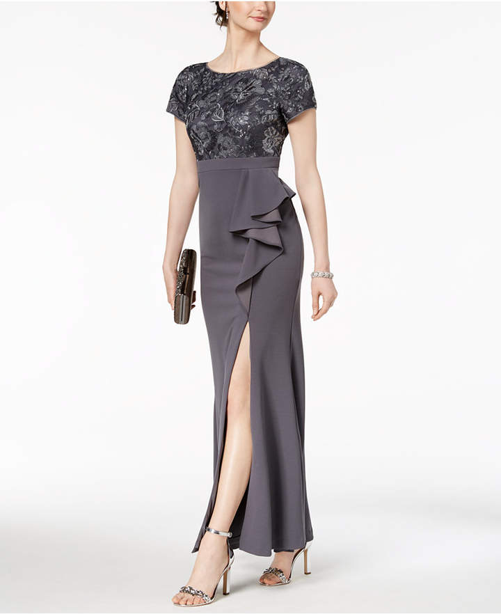 Adrianna Papell Embellished Ruffled Slit Gown