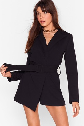 Nasty Gal Womens Work It Belted Tailored Romper - Black