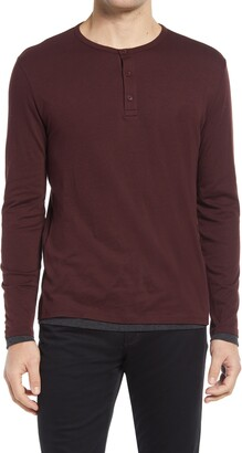 Vince Layered Detail Slim Fit Pima Cotton Henley