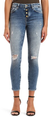 Mavi Jeans Tess High Waist Distressed Button Fly Ankle Skinny Jeans