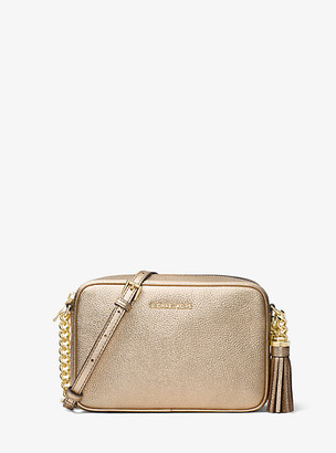 MICHAEL Michael Kors MK Ginny Metallic Leather Crossbody - Pale Gold - Michael Kors