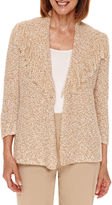 Alfred Dunner Alred Dunner Cactus Ranch 3/4 Sleeve Fringe Cardigan - Petites
