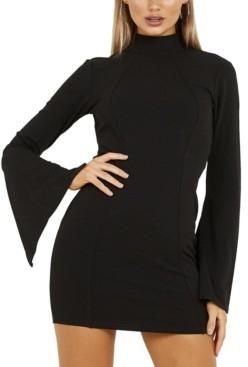 Quiz Open-Back Wide Sleeve Dress