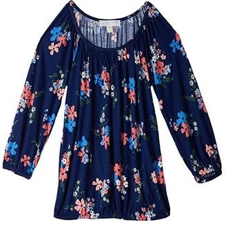 MICHAEL Michael Kors Blooming Bouquet Peasant Top (Coral Peach) Women's T Shirt