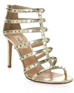 Valentino Lovestud Metallic Leather Gladiator Sandals