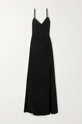 Marchesa Notte Lace-trimmed Crepe Gown - Black