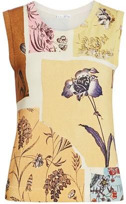 Oscar de la Renta Postage Print Sleeveless Knit Shell