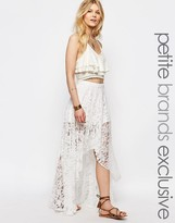 White Cove Petite All Over Lace Scallop Maxi Skirt With High Low Hem
