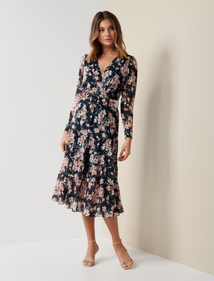 Ever New Jennifer Long-Sleeve Tiered Midi Dress