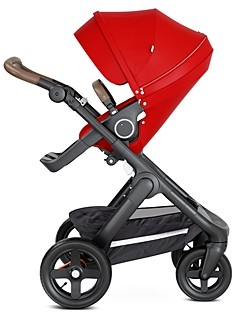 Stokke Trailz Black Stroller Chassis with Brown Handle