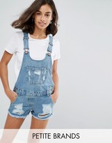 Parisian Petite Distressed Denim Short Overalls