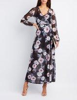 Charlotte Russe Floral Mesh Maxi Wrap Dress