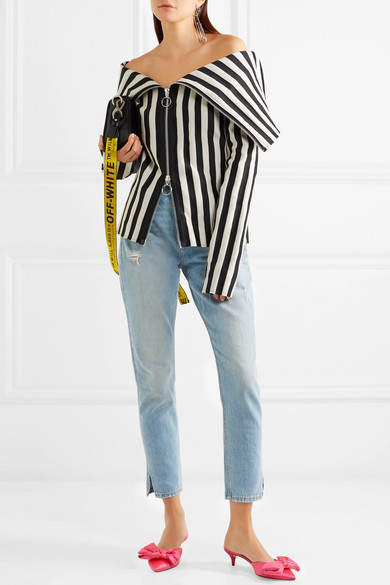 Marques Almeida Marques' Almeida Off-the-shoulder Striped Satin Top