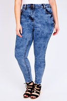 Yours Clothing Blue Mottle Wash Skinny Ankle Grazer Cropped Jeans