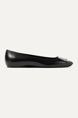 Roger Vivier Trompette Bellerine Glossed-leather Ballet Flats - Black