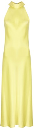 Galvan Sienna yellow satin midi dress