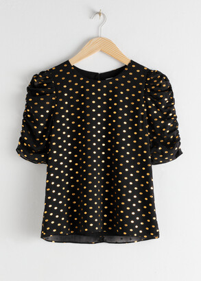 And other stories Metallic Polka Dot Ruffle Sleeve Blouse