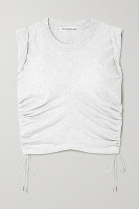 Alexander Wang Wash And Go Cropped Ruched Cotton-jersey Tank - Light gray