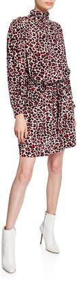 Zadig & Voltaire Rivali Leopard-Print High-Neck Dress